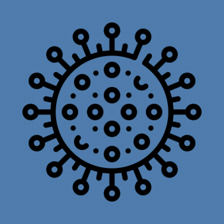 Icon showing pictorial depiction of COVID-19 virus on blue background