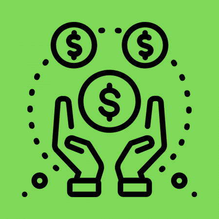 Icon with green background showing cupped hands around dollar sign circles
