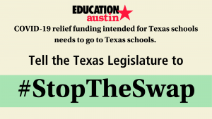 """Text says, """"COVID-19 relief funding intended for Texas schools needs to go to Texas schools. Hashtag Stop the Swap."""""""